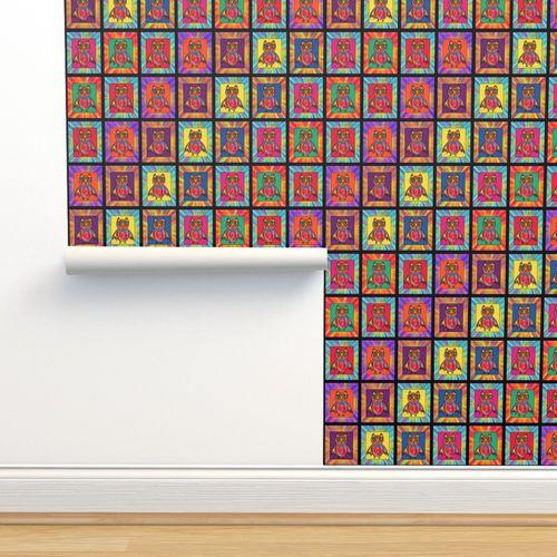 Papier Peint Multicolore Bebe Dessin Animé Tricheur Damier à Carreaux Huée Hibou