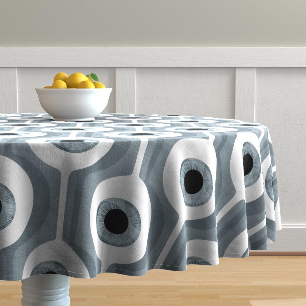 Malay Round Tablecloth featuring Eye Pod grey - custom size by spellstone
