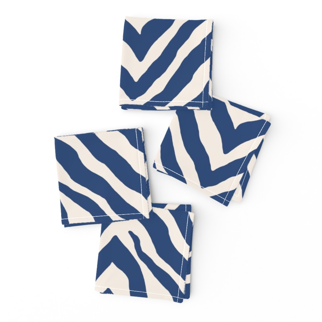 Frizzle Cocktail Napkins featuring Zebra in Navy by willowlanetextiles