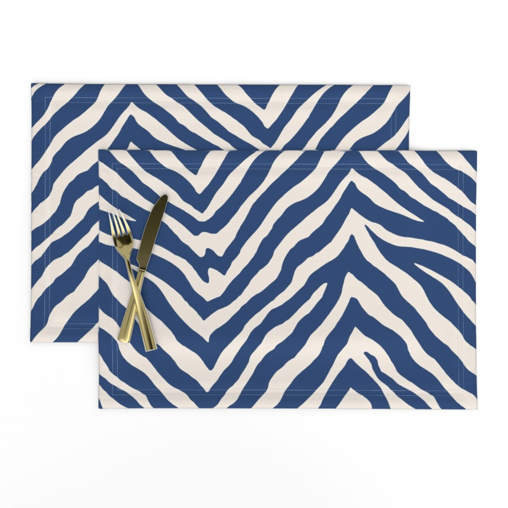 Lamona Cloth Placemats featuring Zebra in Navy by willowlanetextiles