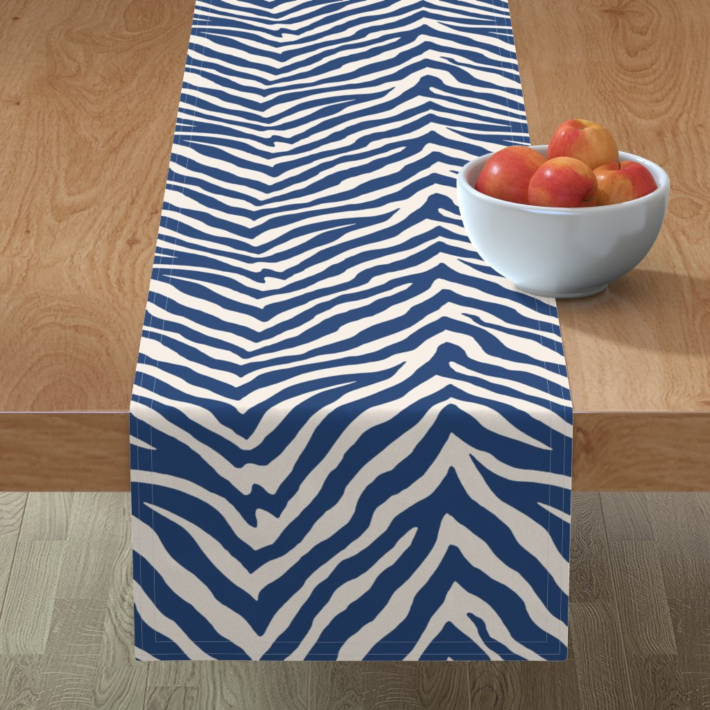 Minorca Table Runner featuring Zebra in Navy by willowlanetextiles