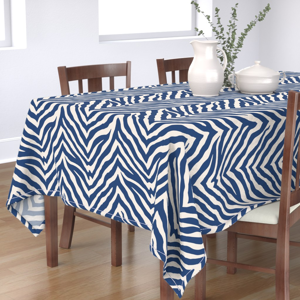 Bantam Rectangular Tablecloth featuring Zebra in Navy by willowlanetextiles