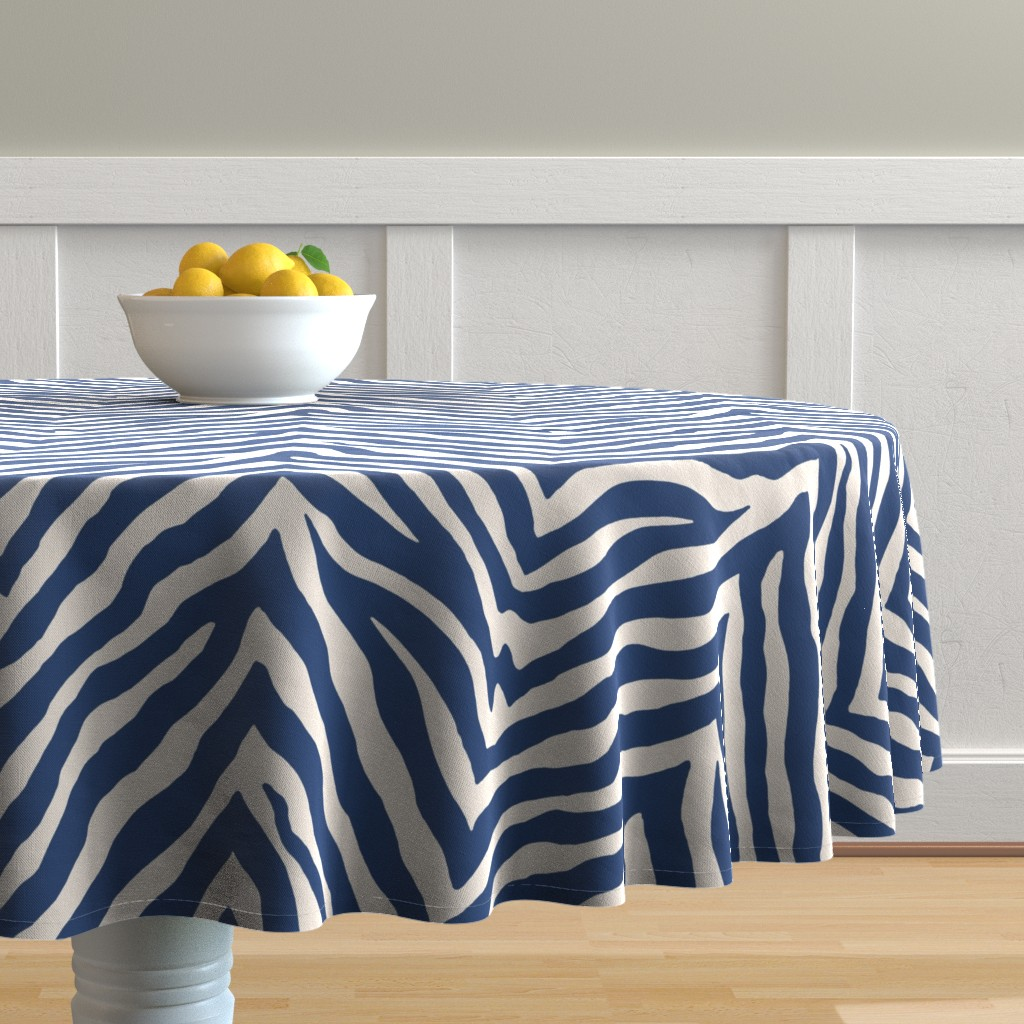 Malay Round Tablecloth featuring Zebra in Navy by willowlanetextiles