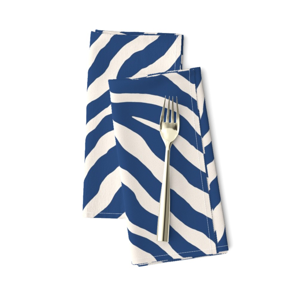 Amarela Dinner Napkins featuring Zebra in Navy by willowlanetextiles