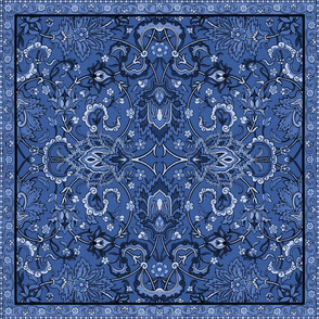 Genii Rug ~ Branni Blue ~ Custom Square