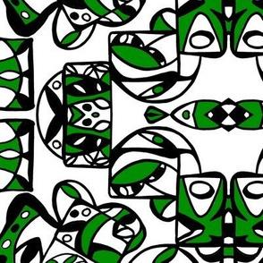 Intrinsic Tribe Design 5 /Green/Blk.Wht