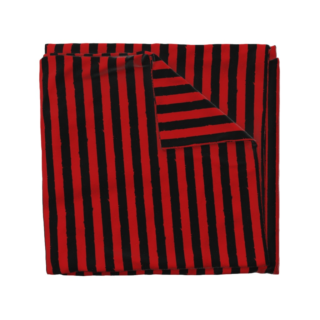 Wyandotte Duvet Cover featuring distress stripe black red by whatever-works