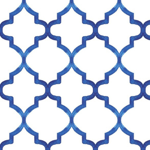 Blue Watercolor Quatrefoil