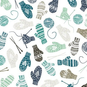 Mitten Knitting Party Blue