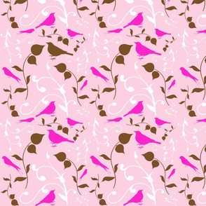 Swirly Bird Small Print Pink
