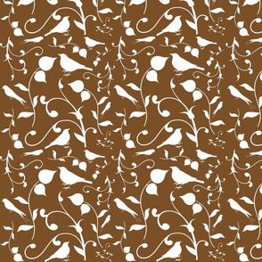 Swirly Bird Small Print Brown