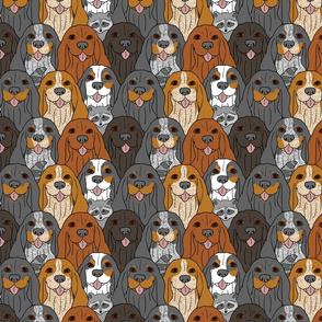 Cartoon Coonhound crowd