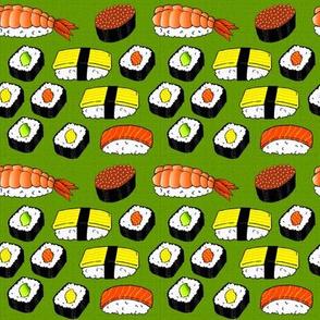 Sushi on Green Mat
