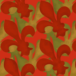 Fleur~De~Lis ~ Christmas Gilt, Green and Red