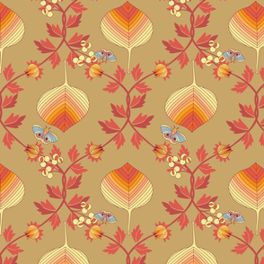 last tango in autumn - fall leaves damask