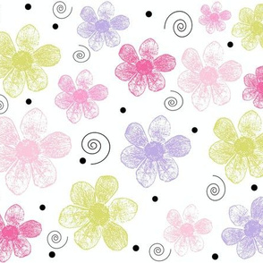 flowers and swirls for girls