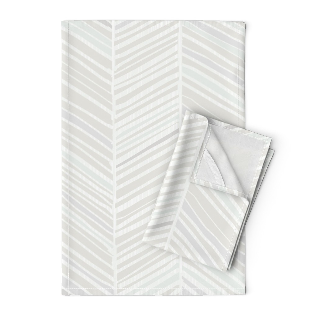 Orpington Tea Towels featuring Herringbone Hues of Grey by Friztin by friztin