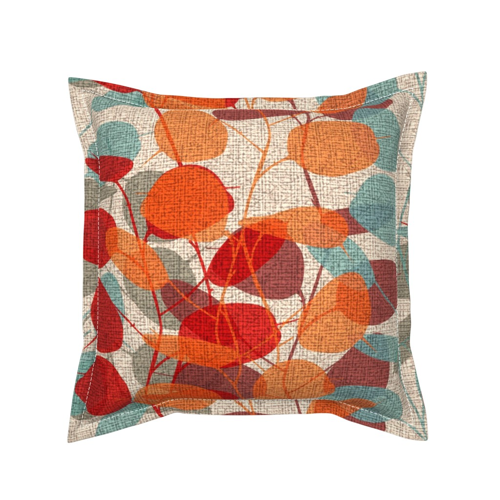 Serama Throw Pillow featuring Lunaria on a Fall Day by chicca_besso