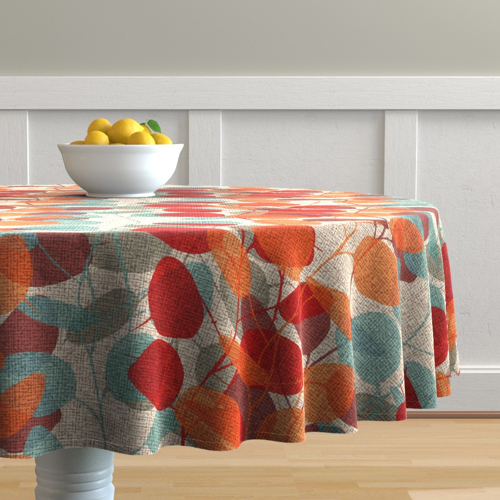 Malay Round Tablecloth featuring Lunaria on a Fall Day by chicca_besso