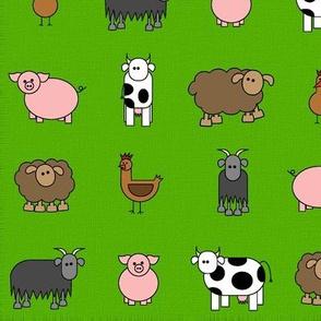 farm animals in grass