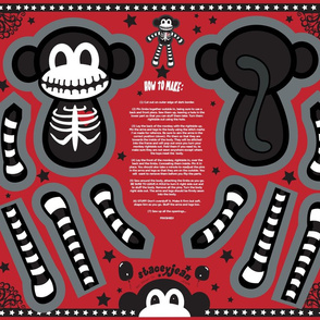 "FQ - 12"" Macabre the Skeleton Monkey Cut & Sew Doll"