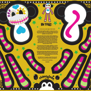 """YD - 30"""" Calavera the Sugar Skull Monkey Cut & Sew Doll"""