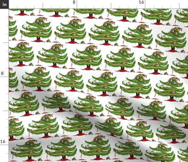 Christmas Zombie Wallpaper.Fabric By The Yard Zombie Christmas Tree Small Scale