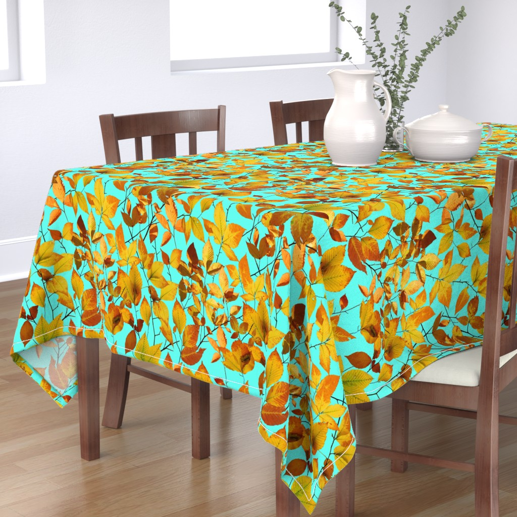 Bantam Rectangular Tablecloth featuring Maine Autumn Leaves by patriciasheadesigns