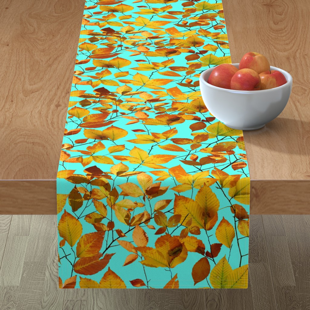Minorca Table Runner featuring Maine Autumn Leaves by patriciasheadesigns