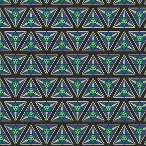 geometric blues and greens