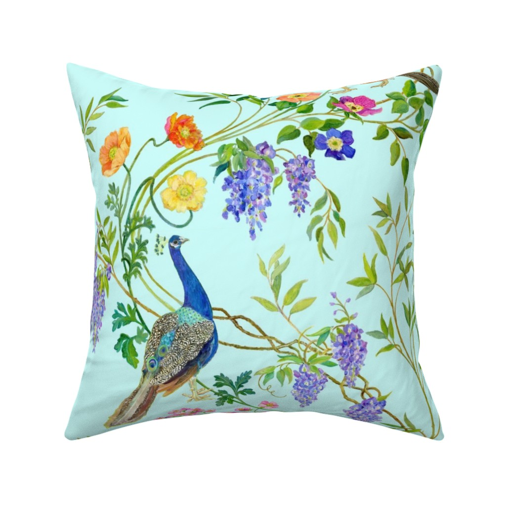 Catalan Throw Pillow featuring Peacock Chinoiserie by mcsparrandesign