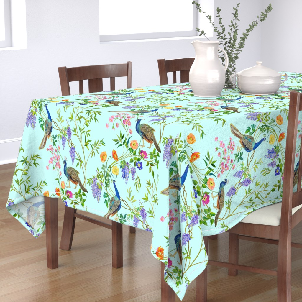 Bantam Rectangular Tablecloth featuring Peacock Chinoiserie by mcsparrandesign