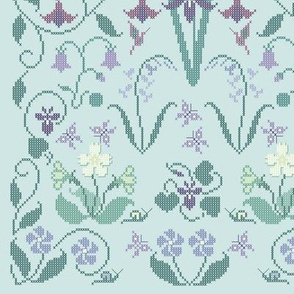 Cross-stitch garden flower sampler embroidery cheater fabric on pale seafoam - look at swatch view to see stitches
