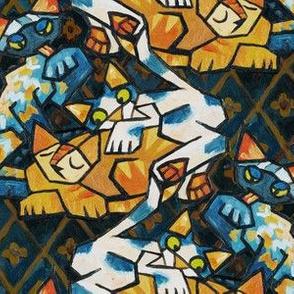 Cubist Cats Dark Background