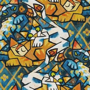 Cubist Cats Bright Background