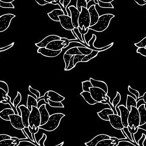 Vector batik flower - white on black - half-brick - zoom to see details
