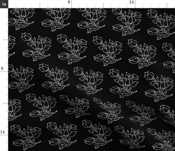 Vector Batik Flower White On Black H Spoonflower