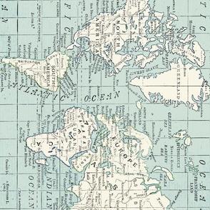 World Map Fabric Repeat
