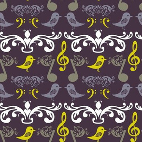 Music Notes and Birds