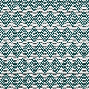 DIAMOND CHEVRON teal/white