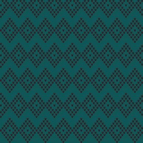 DIAMOND CHEVRON teal/black