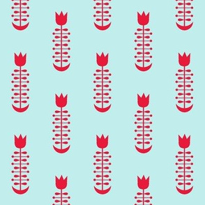 Folk Tulip Pale Blue and Red