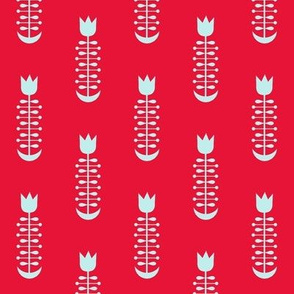 Folk Tulip Red and Pale Blue