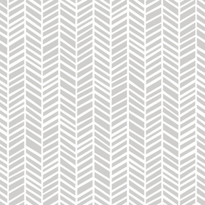 Herringbone Medium Light Grey by Friztin
