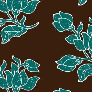 Vector sm batik flower - bluegreen and brown