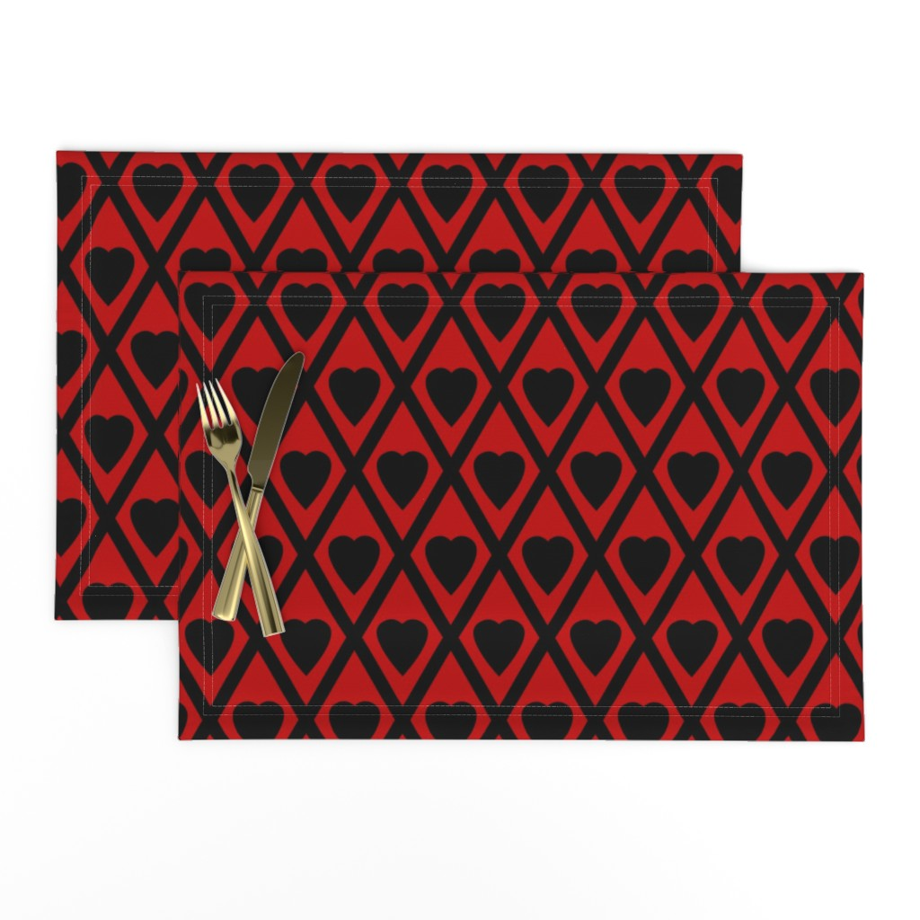 Lamona Cloth Placemats featuring Valentina's Hearts in Black and Red by siya