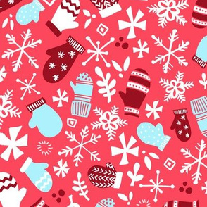 Mitten Montage - Red Holly