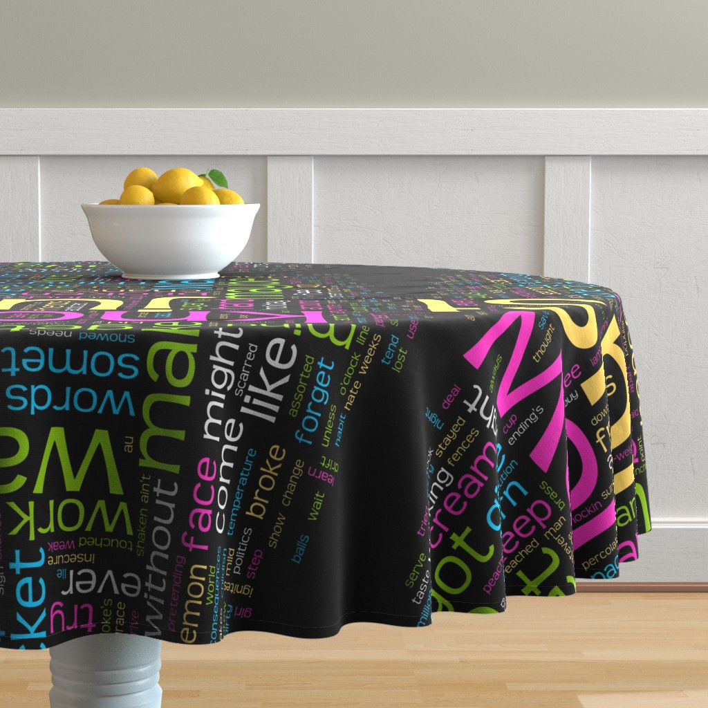 Malay Round Tablecloth featuring Eric Barao Lyrics Giftwrap by ebarao
