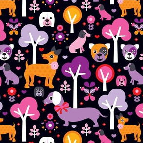 Retro blossom puppy dogs pattern for girls