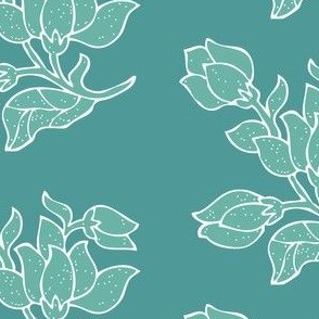 Vector sm batik flower - bluegreens